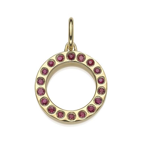 Gold Vermeil Fortune Pendant - Ruby