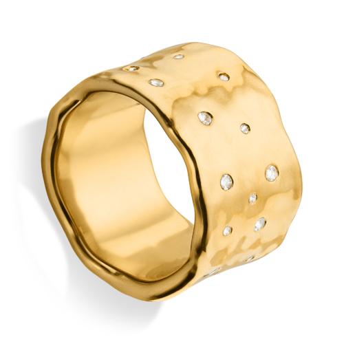Gold Vermeil Siren Scatter Wide Band Ring - White Topaz
