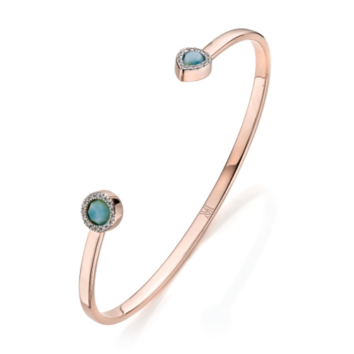 Rose Gold Vermeil Naida Thin Cuff - Larimar and Diamond