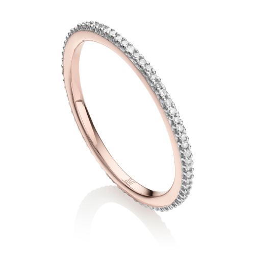 Rose Gold Vermeil Skinny Eternity Ring - Diamond - Monica Vinader