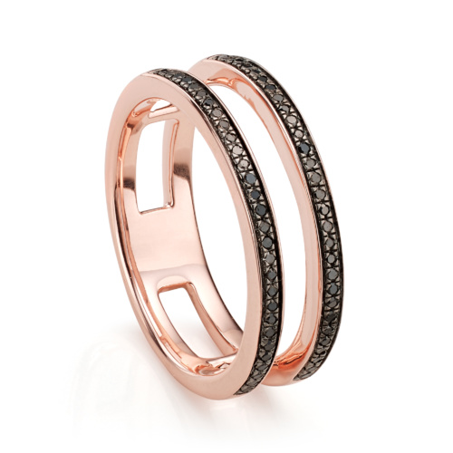 Rose Gold Vermeil Skinny Double Band Ring - Black Diamond - Monica Vinader