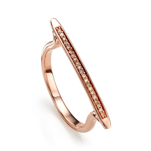 Rose Gold Vermeil Skinny Stacking Ring - Champagne Diamond - Monica Vinader