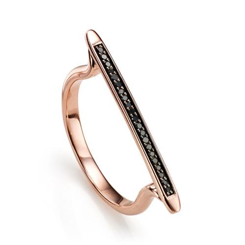 Rose Gold Vermeil Skinny Stacking Ring - Black Diamond - Monica Vinader