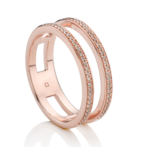 Rose Gold Vermeil Skinny Double Band Ring - Champagne Diamond - Monica Vinader