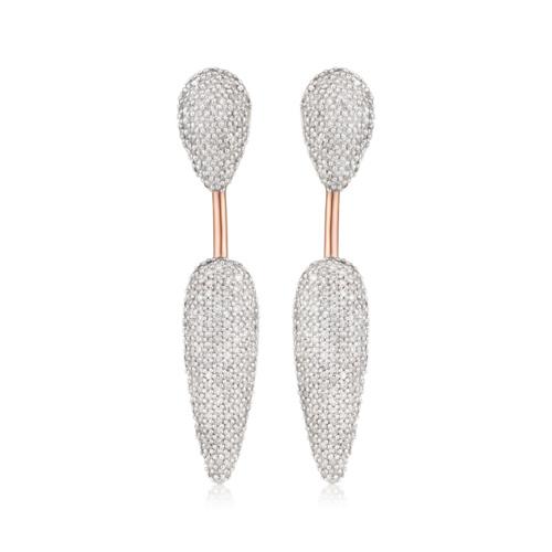 Rose Gold Vermeil Stellar Cocktail Earrings - Diamond - Monica Vinader