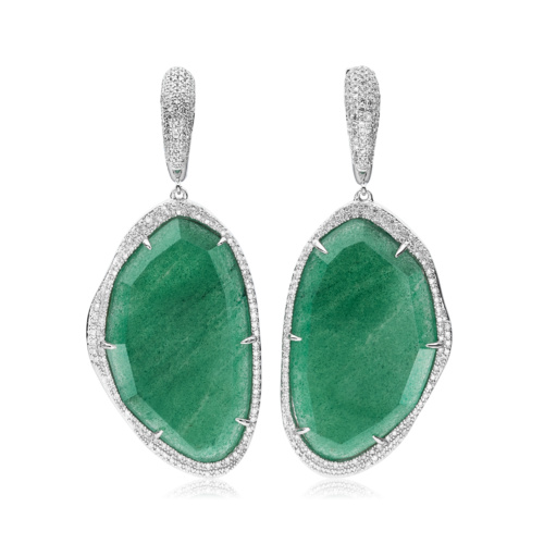 Gala Drop Earrings - Green Aventurine - Monica Vinader