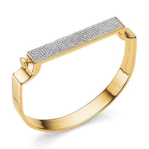 Gold Vermeil Signature Bangle - Diamond - Monica Vinader
