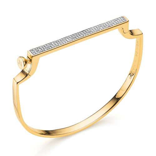 Gold Vermeil Signature Petite Thin Bangle - Diamond - Monica Vinader