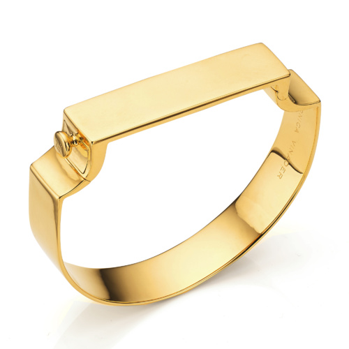 Gold Vermeil Signature Petite Wide Bangle - Monica Vinader