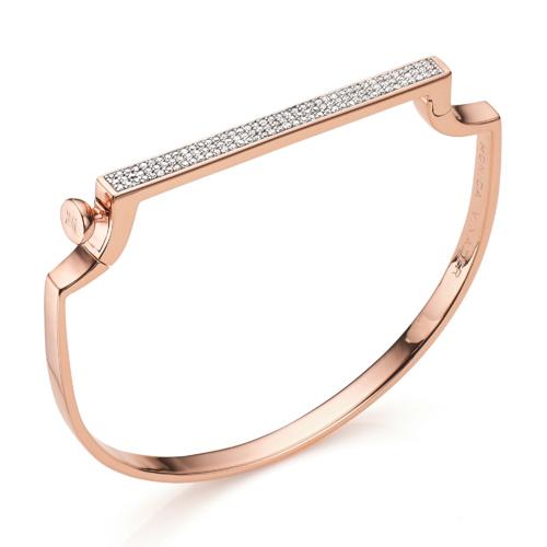 Rose Gold Vermeil Signature Thin Bangle - Diamond - Monica Vinader