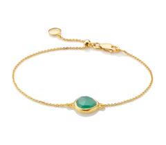 Gold Vermeil Mini Siren Fine Chain Bracelet - Green Onyx