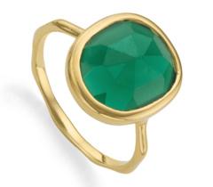 Gold Vermeil Siren Medium Stacking Ring - Green Onyx